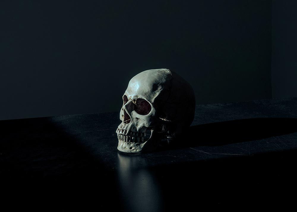 Human skull on table