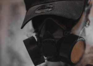 Person wearing gas mask