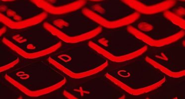 computer keyboard glowing red