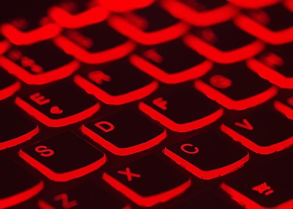 computer keyboard glowing red