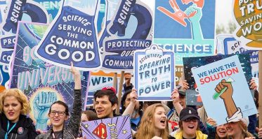 People protesting at a rally about science