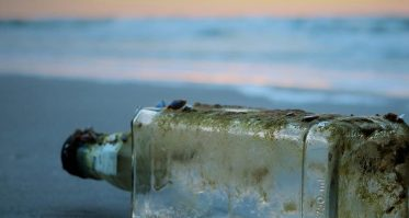 Moldy washed up glass bottle
