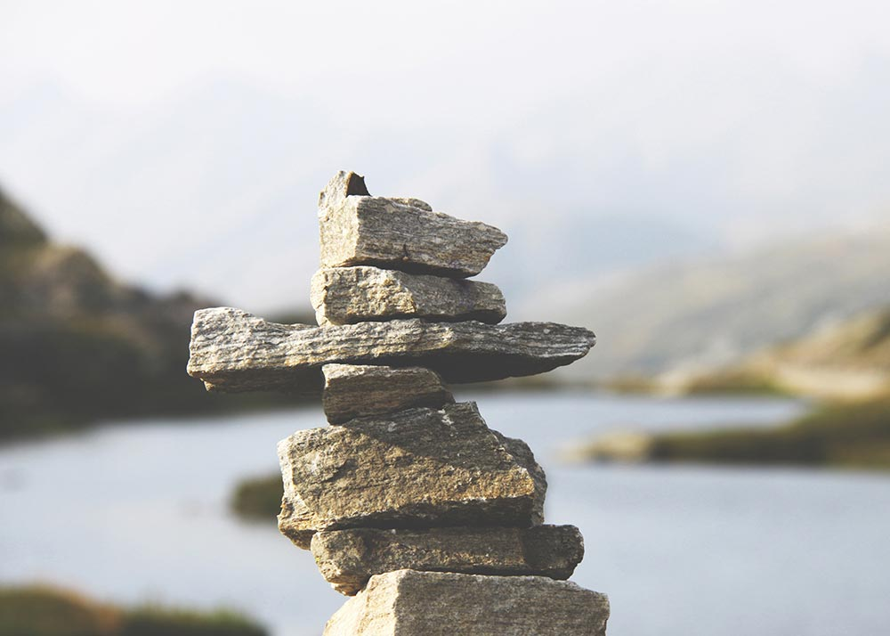 Stack of balancing rocks