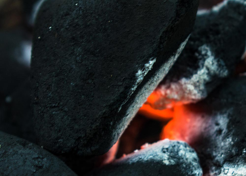 Close up of hot coals