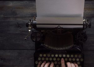 Looking down on a typewriter